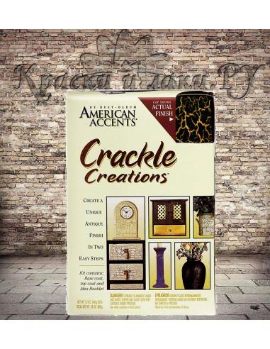 Краска с эффектом трещин (Кракелюр), набор Чёрный на золоте, American Accents