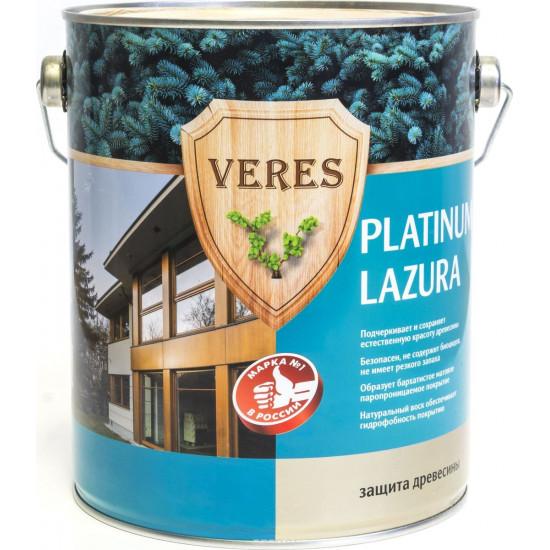 Декоративная пропитка для дерева Veres Platinum Lazura №1, 9 л, бесцветная
